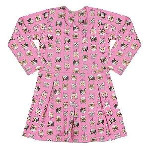 Vestido Infantil Gatinhos Hrradinhos Rosa