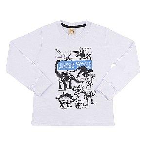 Camiseta Infantil Jurassic World Hrradinhos Branca