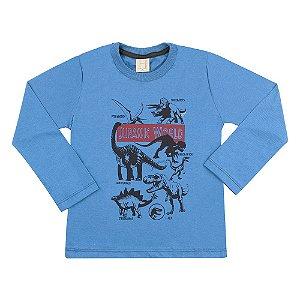 Camiseta Infantil Jurassic World Hrradinhos Azul
