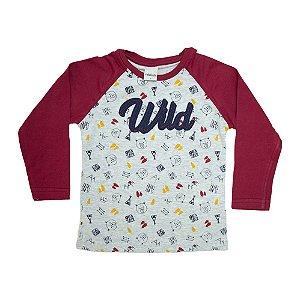 Camiseta Infantil Raglã Wild Ralakids Mescla e Bordô