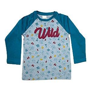 Camiseta Infantil Raglã Wild Ralakids Mescla e Azul Petróleo