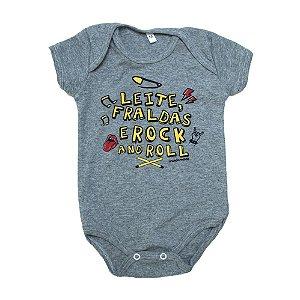Body Bebê Unissex Frase Rock Mundo Miúdo  Mescla