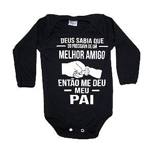 Body Bebê Frase Melhor Amigo Mundo Miúdo  Preto
