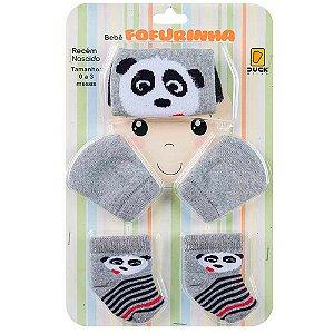 Kit Bebê Fofurinha Touca, Luva e Meia Panda Duck Mescla
