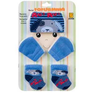 Kit Bebê Fofurinha Touca, Luva e Meia Dog Duck Azul