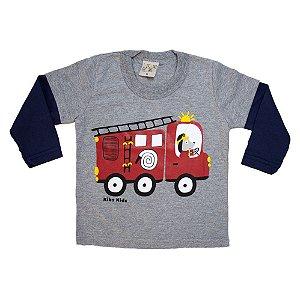 Camiseta Manga Longa Bebê Bombeiro Kibs Kids Mescla