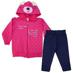 Conjunto Bebê Jaqueta Poá Kibs Kids Pink