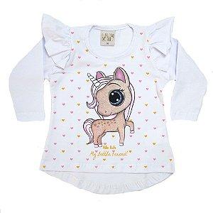 Blusa Bebê Unicórnio Kibs Kids Branco