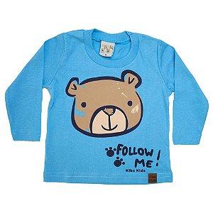 Camiseta Bebê Manga Longa Urso Kibs Kids Azul