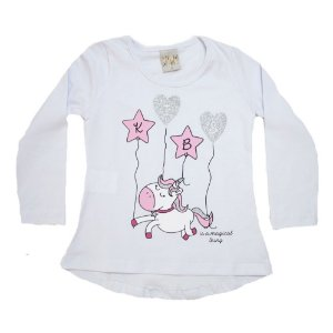 Blusa Infantil Unicórnio Kibs Kids Branca