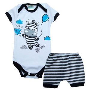 Conjunto Bebê Body Zebra Jeito Inocente Pérola