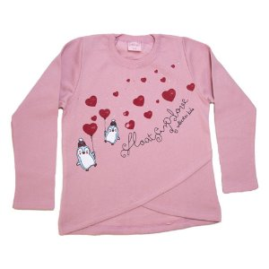 Casaco Infantil Love Pinguim Wilbertex Rosê