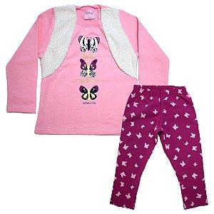 Conjunto Infantil Borboletas Wilbertex Rosa