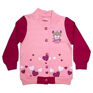 Jaqueta Infantil Com Botão Ursinha Wilbertex Rosa