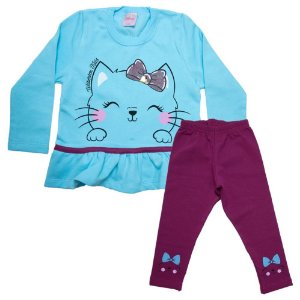 Conjunto Infantil Gatinha Wilbertex Azul