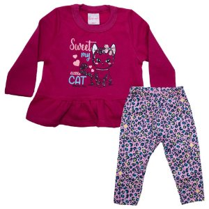 Conjunto Bebê Little Cat Wilbertex Pink