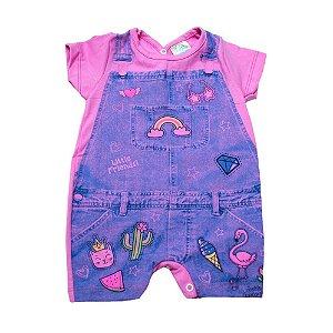 Macaquinho Bebê Cotton Jeans Jeito Inocente Rosa