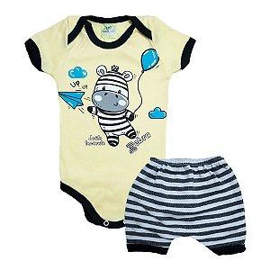 Conjunto Bebê Body Zebra Jeito Inocente Amarelo