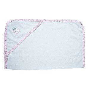 Toalha Bebê Com Aplique Jeito Inocente Branco Com Rosa