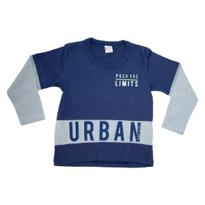 Camiseta Infantil Manga Longa Urban Kibs Kids Marinho