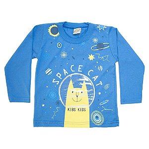 Camiseta Infantil Manga Longa Space Cat Kibs Kids Azul