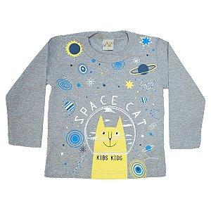 Camiseta Infantil Manga Longa Space Cat Kibs Kids Mescla