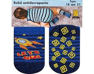 Meia Bebê Antiderrapante Foguete Duck Azul