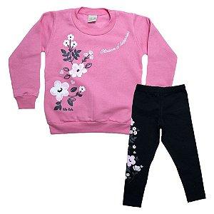 Conjunto Infantil Flores Kibs Kids Rosa