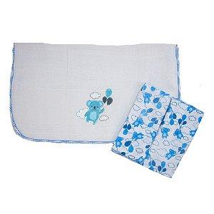 Kit Pano De Boca Estampa Ursinhos 03 Peças Branco e Azul