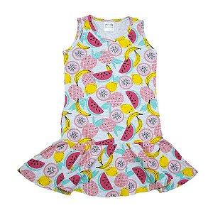 Vestido Infantil Frutas Panna Cotta Mescla
