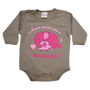 Body Bebê Frase Amor Maior Kentury Marrom