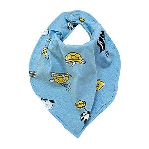 Babador Bebê Bandana Bichinhos Fantoni Azul