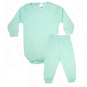 Conjunto Bebê Canelado Liso Pho Verde