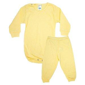 Conjunto Bebê Canelado Liso Pho Amarelo