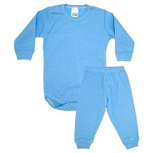 Conjunto Bebê Canelado Liso Pho Azul