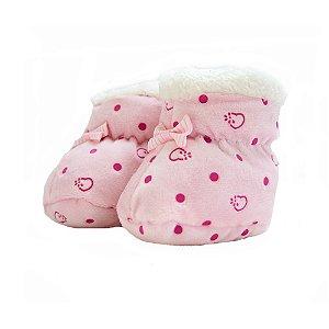 Sapatinho Pantufa Bebê Poá Jeito Infantil Rosa