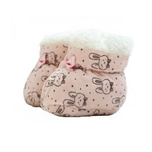 Sapatinho Pantufa Bebê Coelhinho Jeito Infantil Rosê