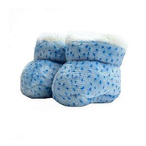 Sapatinho Pantufa Bebê Pintinhas Jeito Infantil Azul
