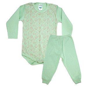 Conjunto Bebê Body Ursinhos Pho Verde