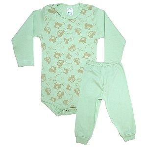 Conjunto Bebê Body Carrinhos  Pho Verde