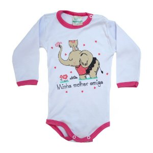 Body Bebê Elefante e Gatinha Jeito Inocente Branco e Pink