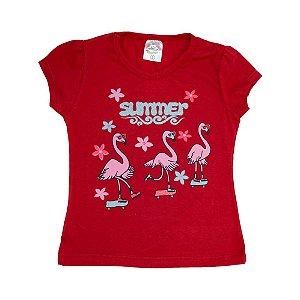 Blusa Infantil Flamingos Hsa Vermelho