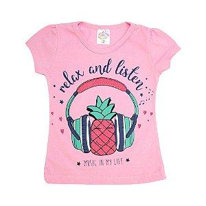 Blusa Infantil Abacaxi Hsa Rosa
