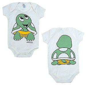 Body Bebê Tartaruga Mundo Miúdo  Branco