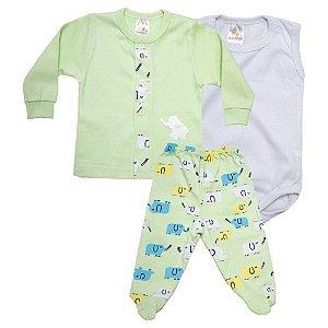 Conjunto Bebê Pagão 03 Peças Isensee Verde