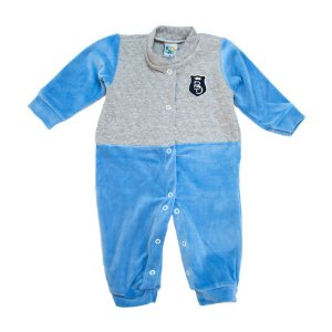 Macacão Bebê Plush e Matelassê Big Day Azul