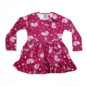 Vestido Infantil Unicórnio Ninando Carmim