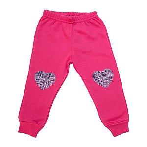 Calça Bebê Estampa Coração Ninando Pink