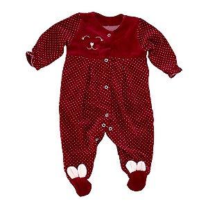 Macacão Bebê Plush Estampado Big Day Vermelho