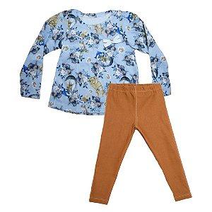 Conjunto Infantil Floral Cats Big Day Azul e Caramelo